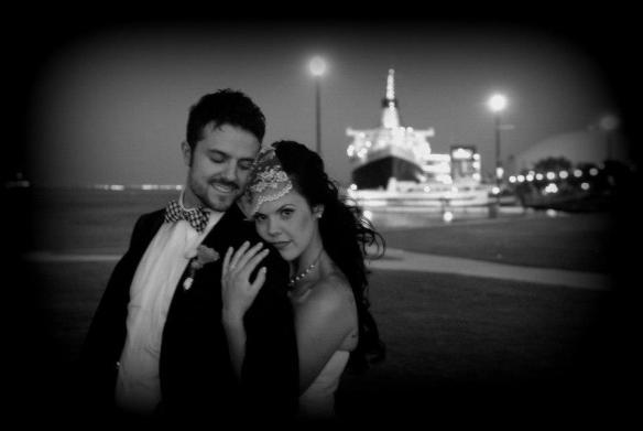 los angeles wedding dj DJMC IAN B the reef restaurant long beach bride and groom queen mary in background